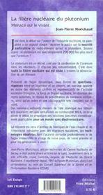 La Filiere Nucleaire Du Plutonium ; Menace Sur Le Vivant - 4ème de couverture - Format classique