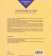 Socioeconomie Du Sport - 4ème de couverture - Format classique