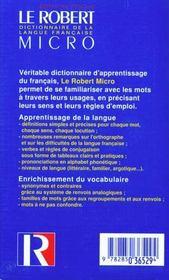 Le Robert micro ; dictionnaire de la langue française - 4ème de couverture - Format classique