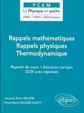 Rappels Mathematiques Rappels Physiques Thermodynamique Rappels De Cours Exercices Corriges Qcm - Intérieur - Format classique