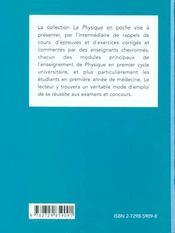 Rappels Mathematiques Rappels Physiques Thermodynamique Rappels De Cours Exercices Corriges Qcm - 4ème de couverture - Format classique