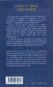 Logos et image chez Plotin - 4ème de couverture - Format classique