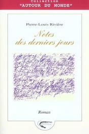 Notes Des Derniers Jours - Intérieur - Format classique