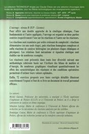 Réactions chimiques et réacteurs chimiques ; niveau b : iup - licence - 4ème de couverture - Format classique