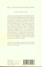 La Mafia Se Met A Table Babel 451 - 4ème de couverture - Format classique