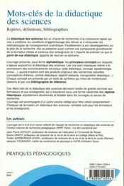 Mots-Cles De La Didactique Des Sciences Reperes, Definitions, Bibliographies - 4ème de couverture - Format classique