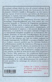 Cahiers Du Sielec T.1 ; Littérature Et Colonies - 4ème de couverture - Format classique