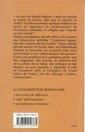 Justice et citoyenneté - 4ème de couverture - Format classique