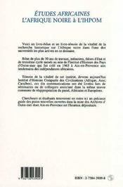 Afrique Noire A L'Ihpom 1964/1994 - 4ème de couverture - Format classique