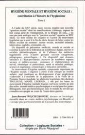 Hygiene Mentale (T1) Et Hygiene Sociale : Contribution - 4ème de couverture - Format classique