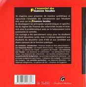 Essentiel Des Finances Locales (L') - 4ème de couverture - Format classique