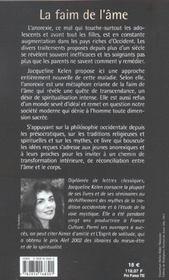 La Faim De L'Ame - 4ème de couverture - Format classique