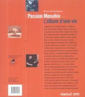 Passion Menuhin ; l'album d'une vie - 4ème de couverture - Format classique