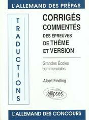 Traductions Corriges Commentes Des Epreuves De Theme Et Version Allemand Grandes Ecoles Commerciales - Intérieur - Format classique
