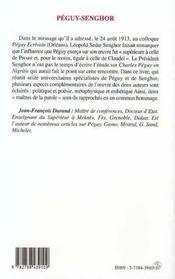 Peguy-Senghor, La Parole Et Le Monde - 4ème de couverture - Format classique