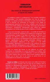 Formation Deformation ; Des Miroirs Du Developpement Personnel A L'Oeuvre De Creation - 4ème de couverture - Format classique