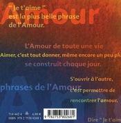 Le livre de l'amour - 4ème de couverture - Format classique