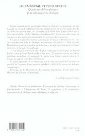 Oecumenisme Et Philisophie - 4ème de couverture - Format classique
