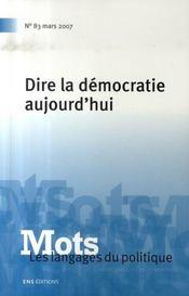 Mots N.83 ; Dire La Démocratie Aujourd'Hui - Intérieur - Format classique