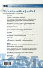 Mots N.83 ; Dire La Démocratie Aujourd'Hui - 4ème de couverture - Format classique