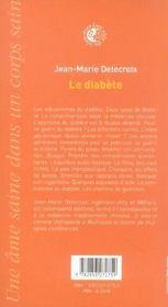 Le diabete - 4ème de couverture - Format classique