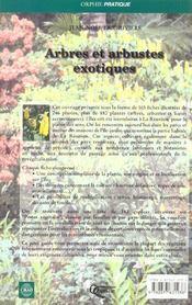 Arbres Et Arbustes Exotiques - 4ème de couverture - Format classique