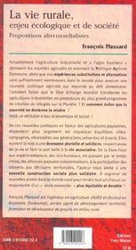 Vie Rurale Enjeu Ecologique Et De Societe (La) - 4ème de couverture - Format classique