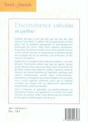 L'Incontinence Urinaire En Questions - 4ème de couverture - Format classique