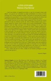 Côte d'Ivoire ; histoire d'un retour - 4ème de couverture - Format classique