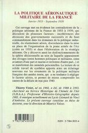 La Politique Aeronautique Militaire De La France ; Janvier 1933-Septembre 1939 - 4ème de couverture - Format classique