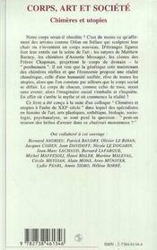 Corps, art et société ; chimères et utopies - 4ème de couverture - Format classique
