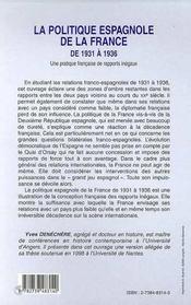 La Politique Espagnole De La France De 1931 A 1936 ; Une Pratique Francaise De Rapports Inegaux - 4ème de couverture - Format classique