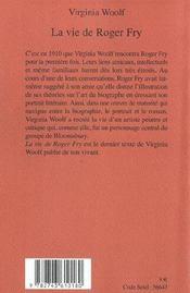 La vie de Roger Fry - 4ème de couverture - Format classique