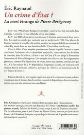 Un crime d'Etat ? la mort étrange de Pierre Bérégovoy - 4ème de couverture - Format classique