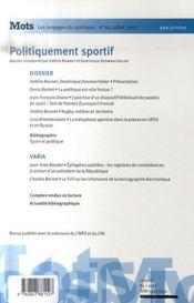 Mots, Les Langages Du Politique N.84 ; Politiquement Sportif - 4ème de couverture - Format classique