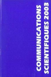Communications Scientifiques Mapar 2003 - Intérieur - Format classique