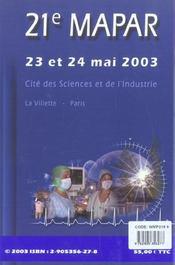 Communications Scientifiques Mapar 2003 - 4ème de couverture - Format classique
