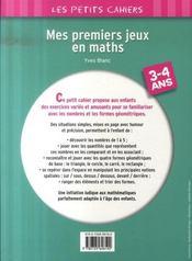 Mes premiers jeux en mathématiques ; 3/4 ans - 4ème de couverture - Format classique