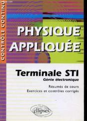 Controle Continu ; Physique Appliquée ; Terminale Sti Génie Electronique - Couverture - Format classique