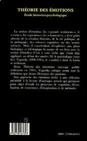 Theorie Des Emotions - 4ème de couverture - Format classique