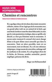 Chemins et rencontres - 4ème de couverture - Format classique