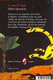 Le chat de Tigali - 4ème de couverture - Format classique