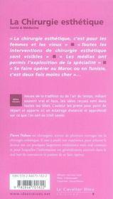 La chirurgie esthétique - 4ème de couverture - Format classique