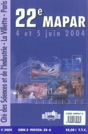 Communications Scientifiques Mapar 2004 - 4ème de couverture - Format classique