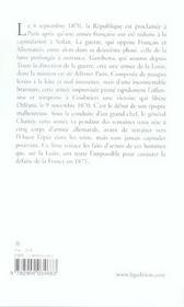 L'Armee De La Loire. Campagne De 1870-1871 - 4ème de couverture - Format classique