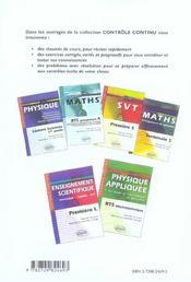 Controle Continu ; Mathématiques ; 1ère L ; Enseignement Obligatoire Au Choix - 4ème de couverture - Format classique