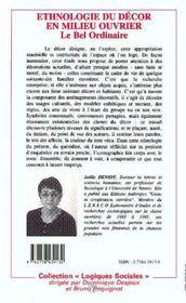 Ethnologie Du Decor En Milieu Ouvrier ; Le Bel Ordinaire - 4ème de couverture - Format classique