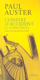 Constat D'Accident Et Autres Textes - Intérieur - Format classique