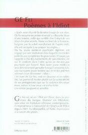 Poèmes à l'idiot - 4ème de couverture - Format classique