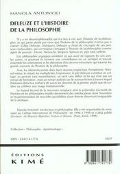 Deleuze Et L'Histoire De La Philosophie - 4ème de couverture - Format classique